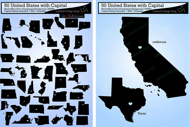 united states map with capitals